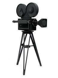 silhouette of a retro film camera